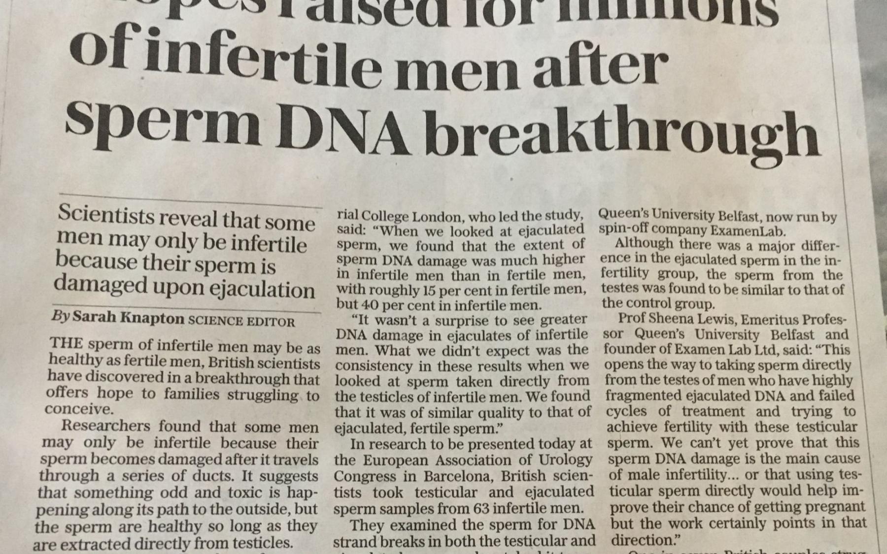 March 2019 infertility new Mr Jonathan Ramsay